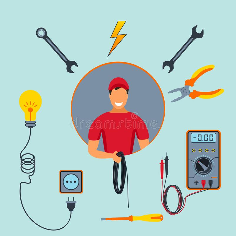 Electrical service. Electrician with set of colorful professional tools isolated on blue background. Worker and equipment icon. vector illustration
