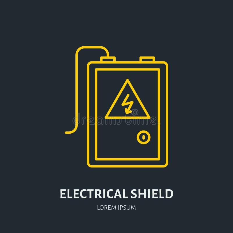 Electrical shield flat line icon. High voltage danger sign. Warning, electricity industry illustration stock illustration