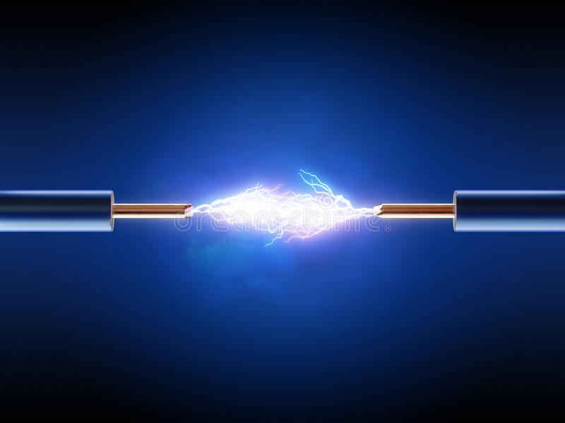 Download Electrical Spark Between  Two Insulated Copper Wires Stock Image - Image: 33567611