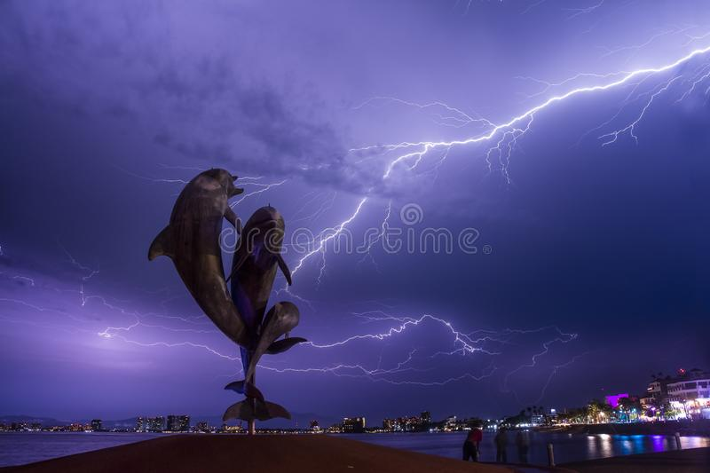 Electrical Storm over Puerto Vallarta during summer time stock photos