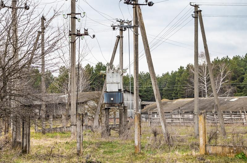 Electrical substation, high voltage transformer royalty free stock photo