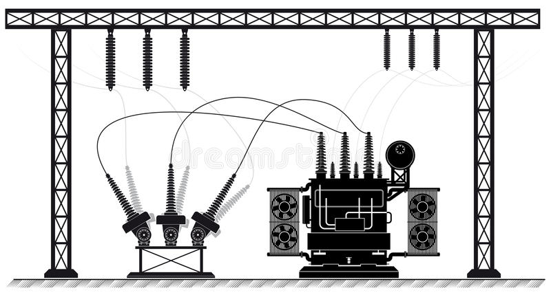 Electrical substation. The high-voltage transformer and switch. Black white illustration. electricity supply. royalty free illustration
