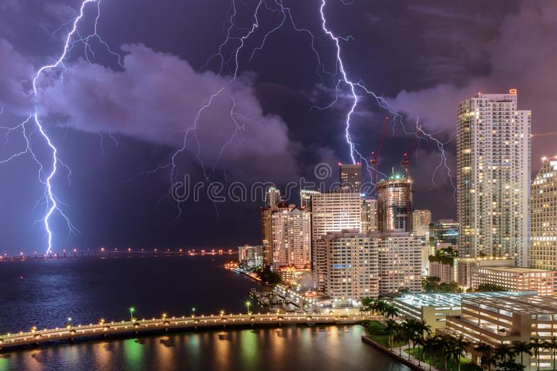 Electrical summer Storm over Miami cityscape royalty free stock photography