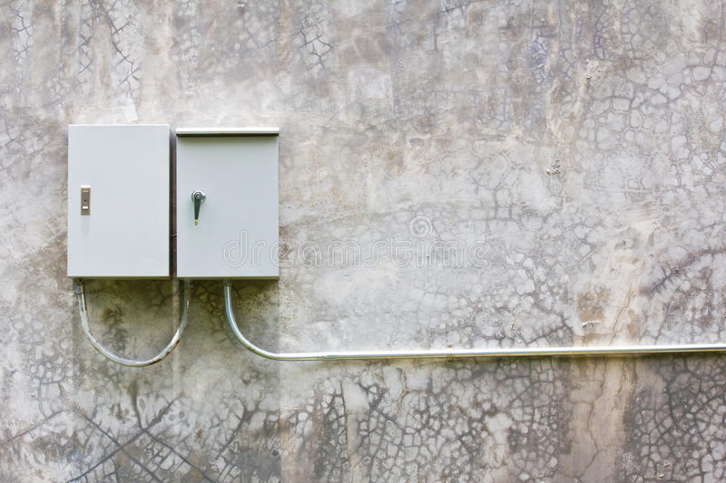 Electrical switch box on the wall royalty free stock photo