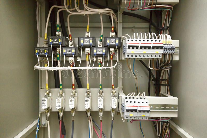 Electrical switchboard, wire, automat. electrical shield stock photo