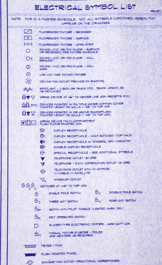 Electrical symbol list stock image image of plans house 4824541 electrical symbol list of a blueprint malvernweather Gallery