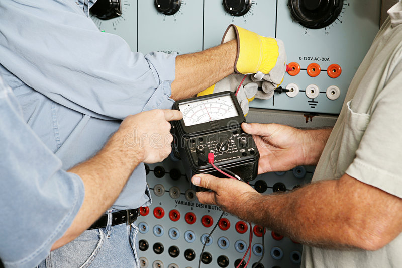 Download Electrical Team Testing Voltage Stock Image - Image of electrician, hardhat: 3746495