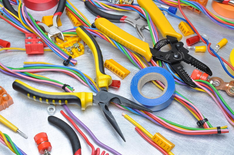 Electrical tool and component kit. To use in electrical installations royalty free stock photos