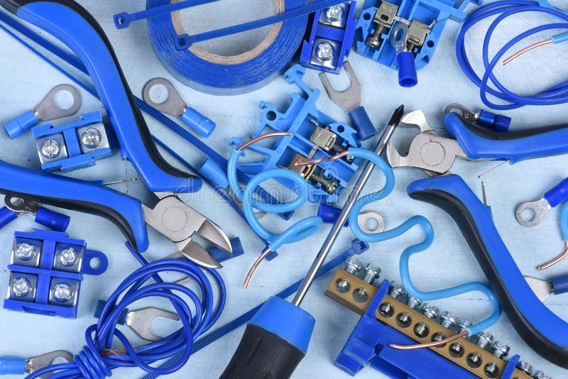 Electrical tools and component kit used in electrical installations stock image