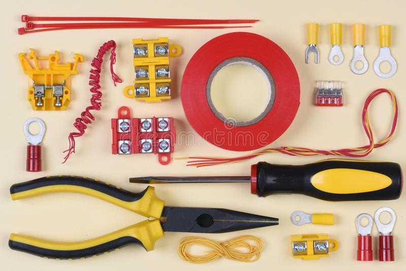 Electrical tools and component stock image