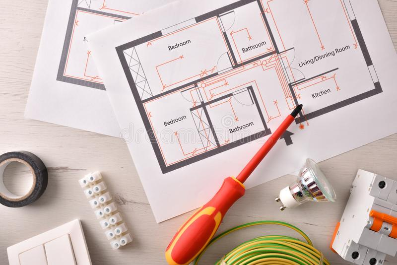 Electrical tools for housing installation general view royalty free stock photo