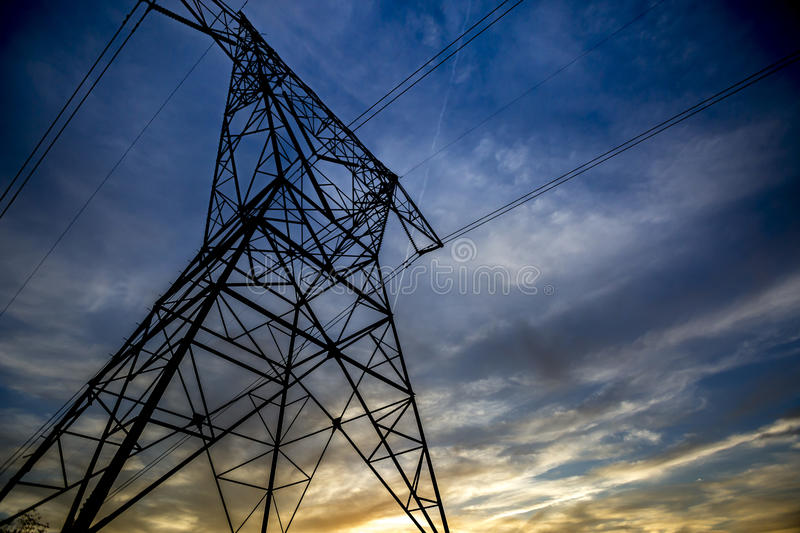 Electrical tower near sunset in California royalty free stock images