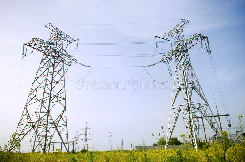 Electrical towers royalty free stock photos