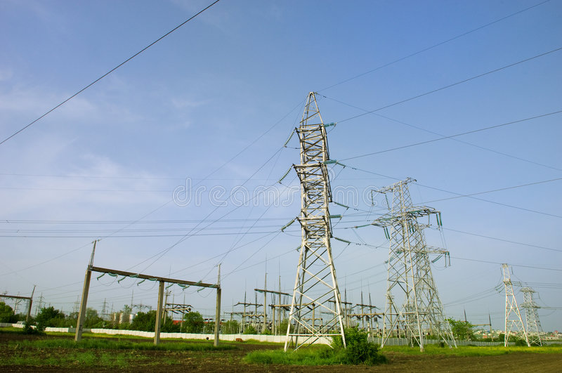 Electrical towers stock photos