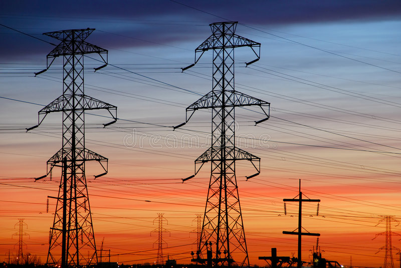 Electrical Towers with Colored Sky stock photos
