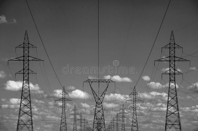 Electrical Transmission Towers. Image featuring electrical transmission towers, which are used to carry electricity stock photography