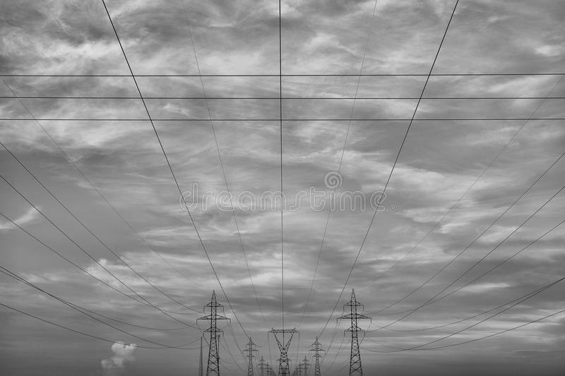 Electrical Transmission Towers. Image featuring electrical transmission towers, which are used to carry electricity stock image