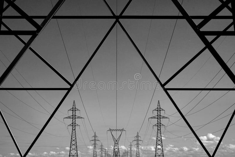 Electrical Transmission Towers. Image featuring electrical transmission towers, which are used to carry electricity royalty free stock photos