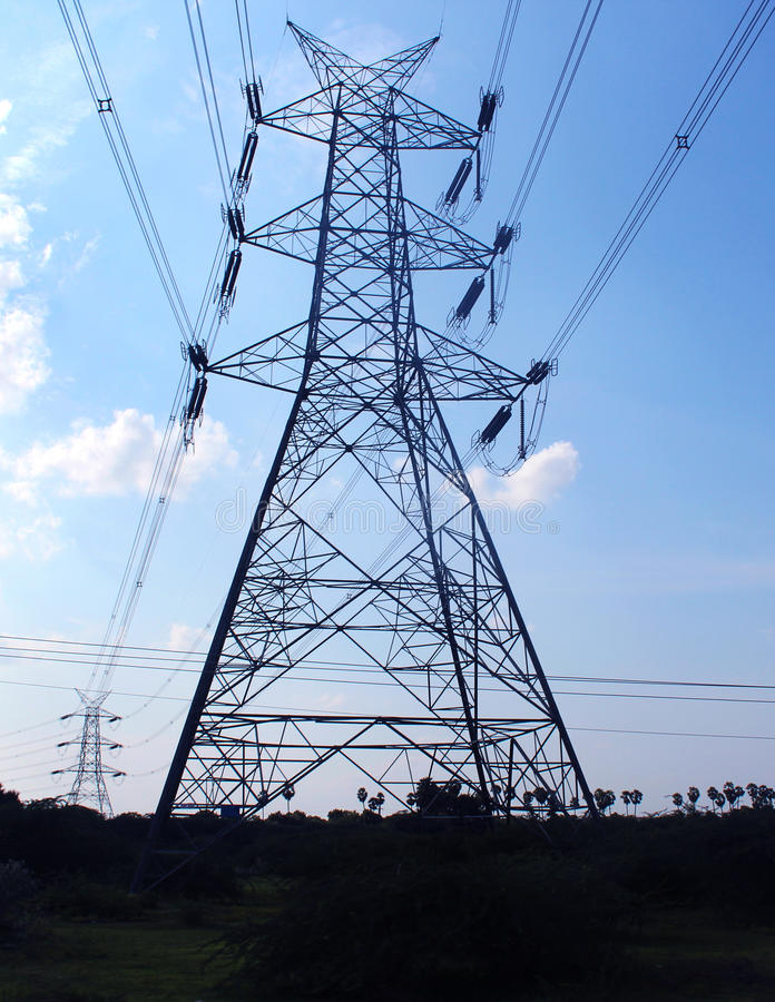 Electrical transmission towers. Landscape photo royalty free stock images