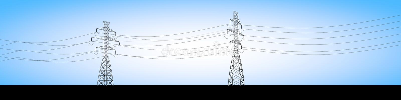 Electrical trusses and electric current cables, electricity distribution royalty free illustration