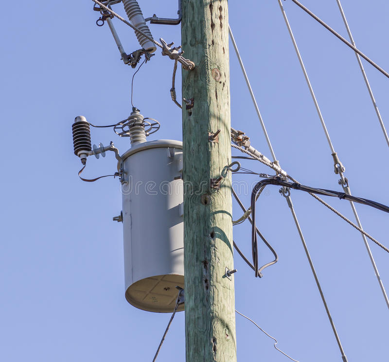Electrical Utility Transformer. On power pole stock photo