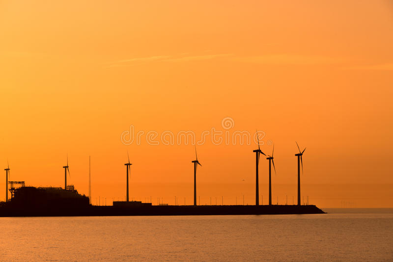 Download Electrical Windmills Silhouettes Stock Photo - Image: 32421652