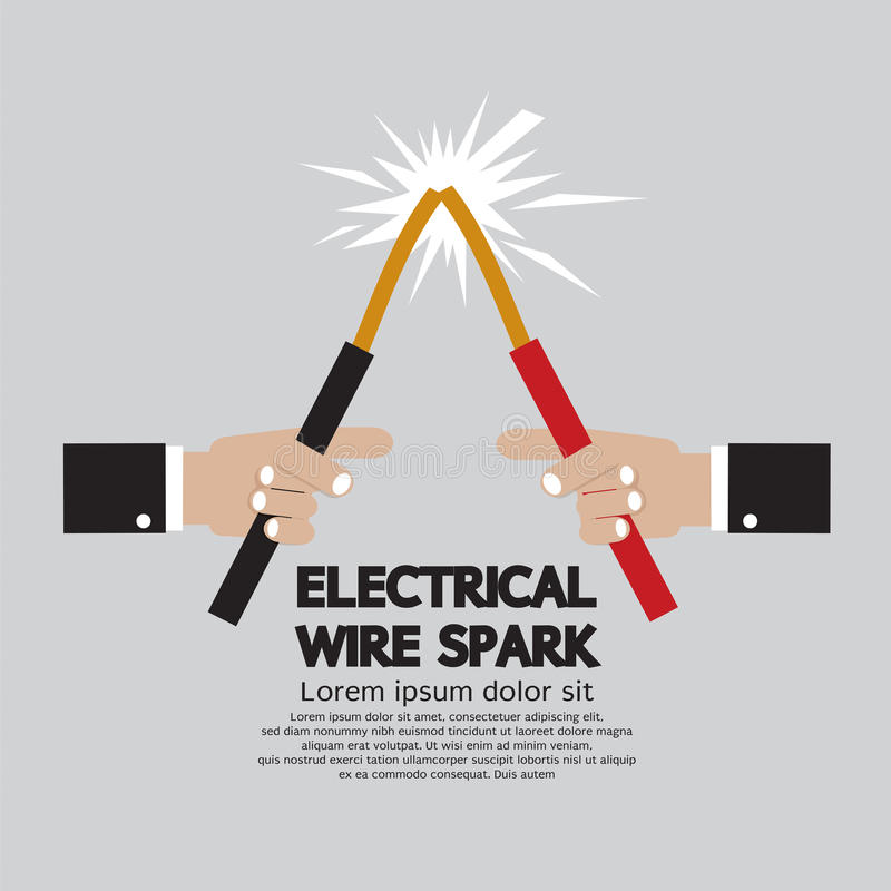 Electrical Wire Spark. stock vector. Illustration of shock - 62988928