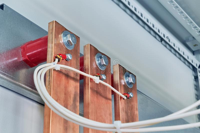 Electrical Wires Are Connected To Copper Busbars. Stock Photo ...