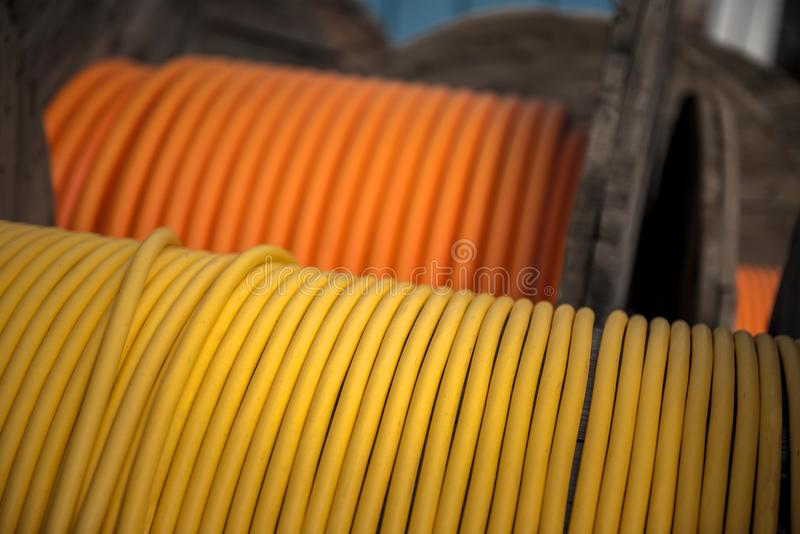 Download Electrical Wires On Wooden Spool Stock Image - Image of connection, equipment: 35365053