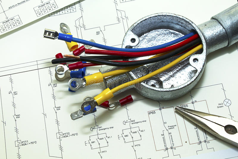Electrical Wiring. In construction and made connections royalty free stock photo