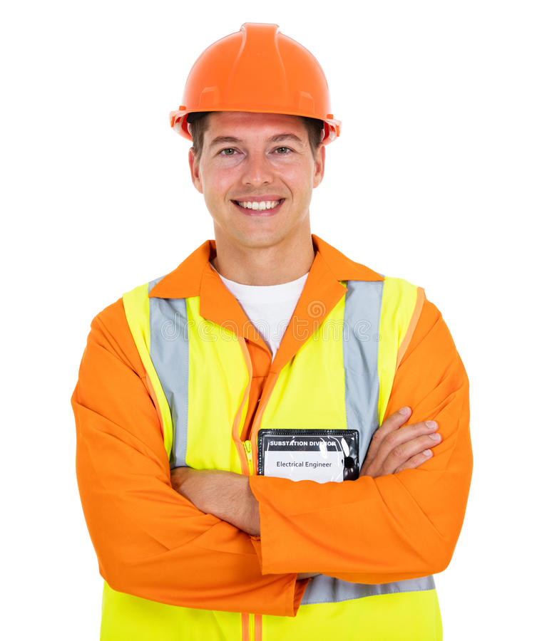 Electrical worker arms folded royalty free stock photography