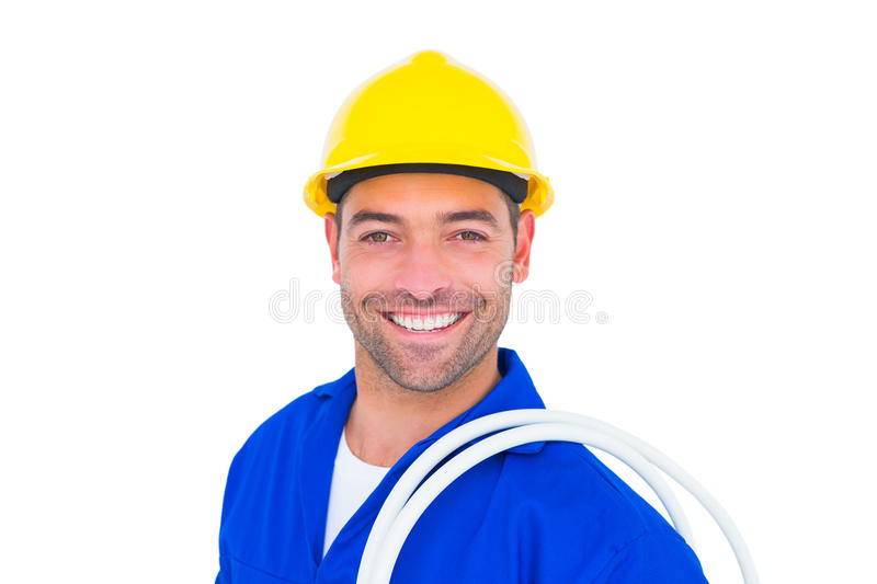 Electrician carrying wires over white background stock image