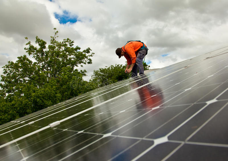 Download Electrician Checking Solar Panels Stock Photo - Image: 21794814