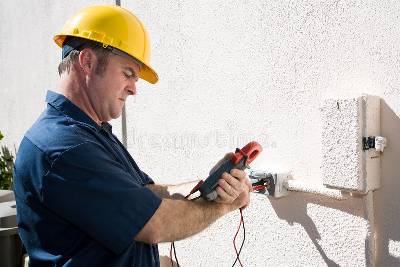 Electrician Checking Voltage royalty free stock photo