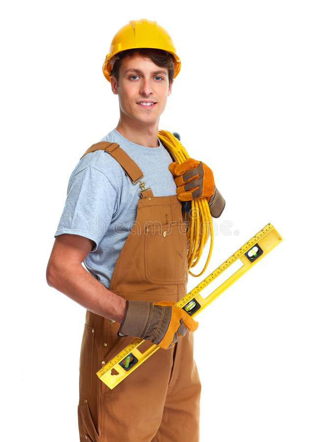 Electrician construction worker royalty free stock photo