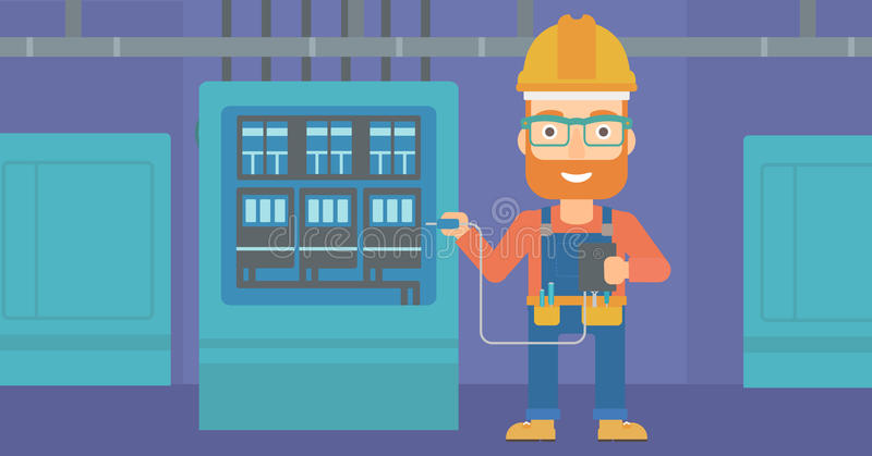 Electrician with electrical equipment. A hipster man in helmet measuring the voltage output vector flat design illustration. Horizontal layout royalty free illustration