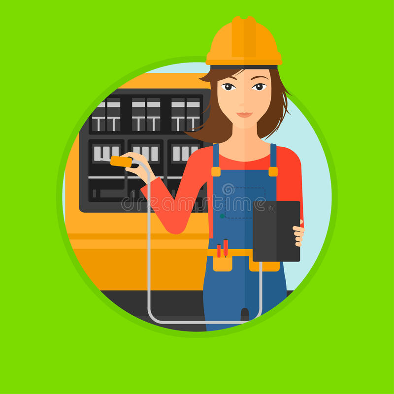 Electrician with electrical equipment. A woman in helmet measuring the voltage output. Young electrician with electrical equipment standing in front of royalty free illustration