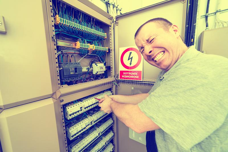Electrician electrocuted stock photography
