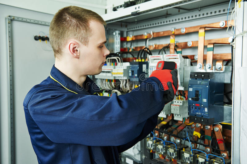 Electrician engineer worker stock image