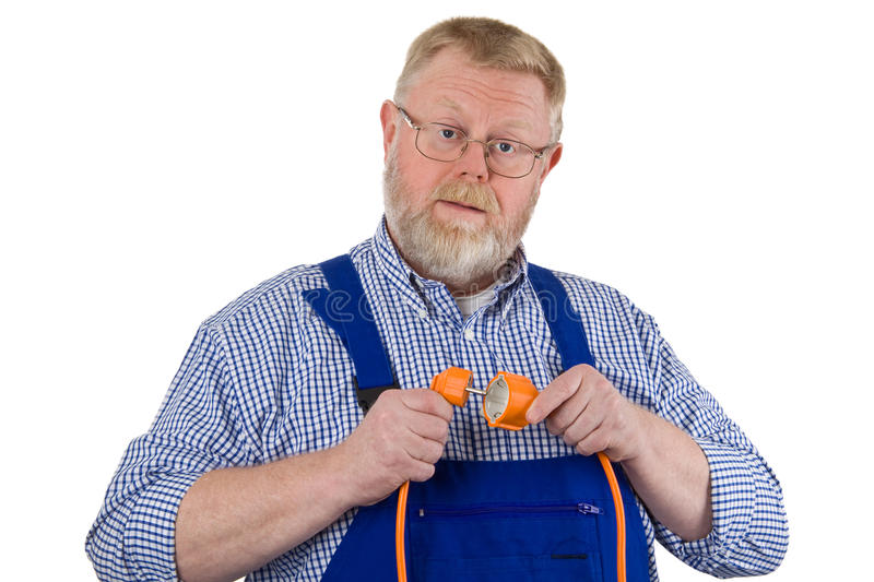 Electrician with extension cable stock photos