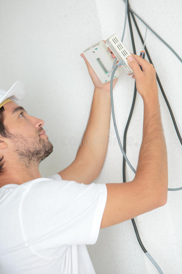 Download Electrician Fitting Thermostat System Stock Photo - Image of files, heating: 95175290