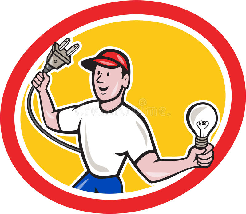 Download Electrician Holding Electric Plug And Bulb Cartoon Stock Vector