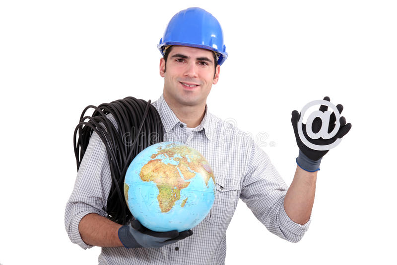 Electrician holding globe. And at symbol stock image