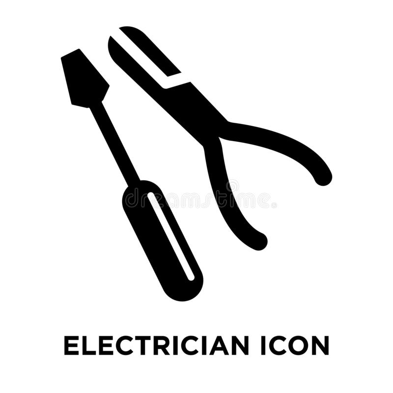 Electrician icon vector isolated on white background, logo concept of Electrician sign on transparent background, black filled vector illustration