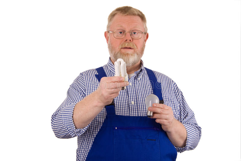 Electrician with light bulb stock image