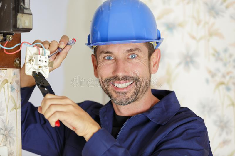 Electrician looks at camera royalty free stock photos