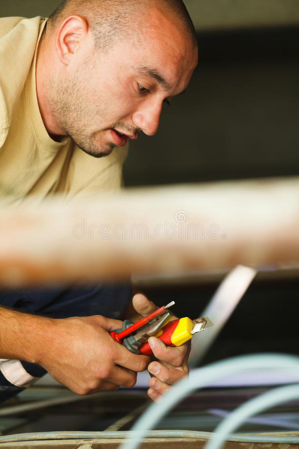 Electrician Man Working royalty free stock photos