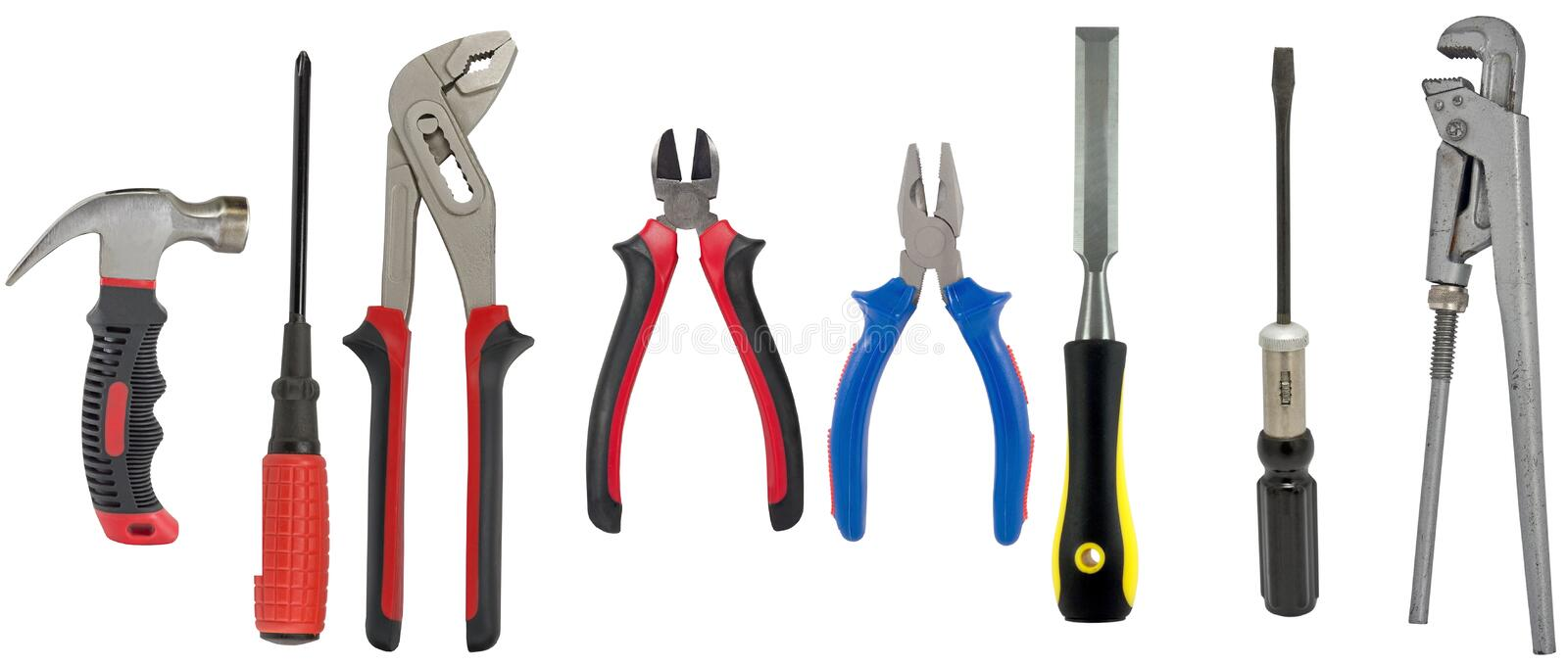 Electrician and plumber tools isolated white stock image