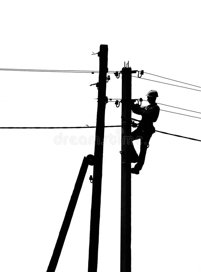 Electrician on a pole stock photo
