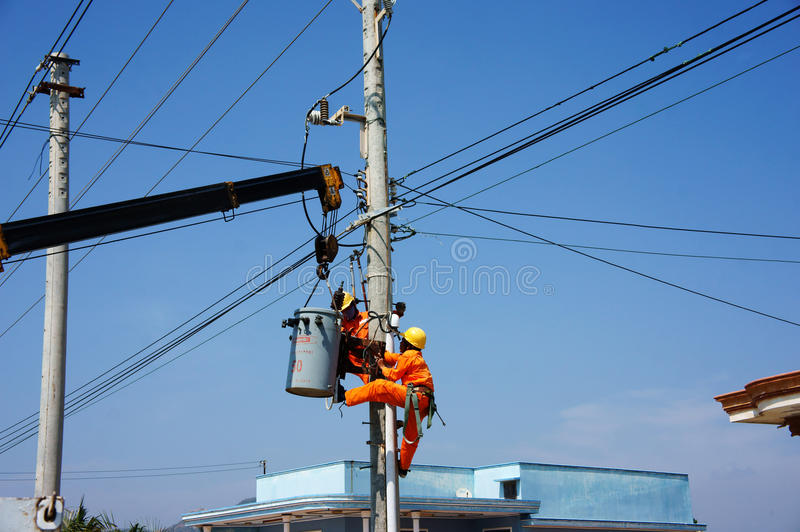 Electrician repair system of electric wire royalty free stock images